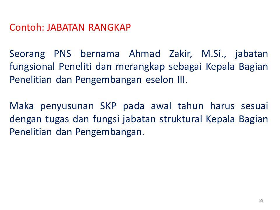 59 Contoh: JABATAN RANGKAP Seorang PNS bernama Ahmad Zakir, M.Si., jabatan fungsional Peneliti dan merangkap sebagai Kepala Bagian Penelitian dan Pengembangan eselon III.