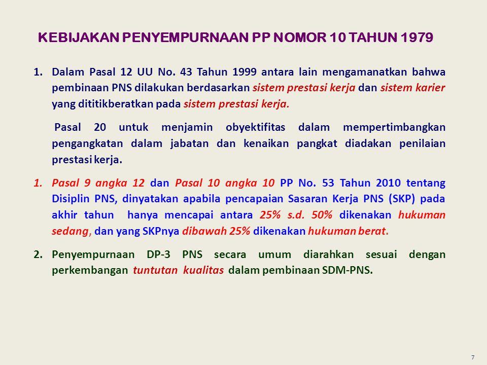 7 KEBIJAKAN PENYEMPURNAAN PP NOMOR 10 TAHUN 1979 1.Dalam Pasal 12 UU No.