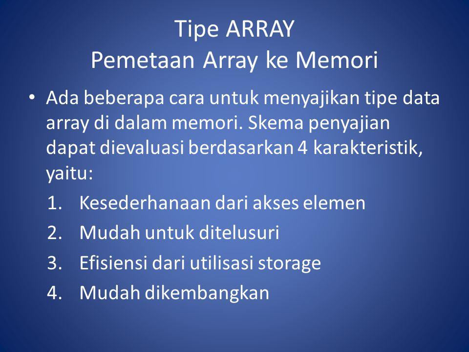 Tipe ARRAY Pemetaan Array ke Memori Ada beberapa cara untuk menyajikan tipe data array di dalam memori. Skema penyajian dapat dievaluasi berdasarkan 4