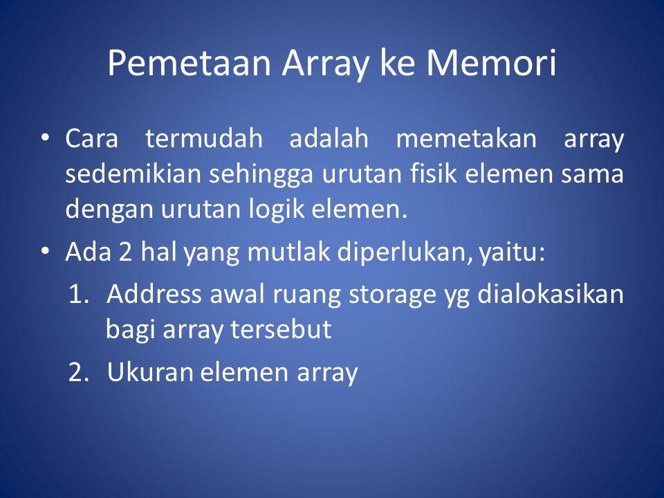 Pemetaan Array ke Memori Cara termudah adalah memetakan array sedemikian sehingga urutan fisik elemen sama dengan urutan logik elemen. Ada 2 hal yang