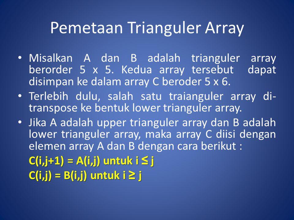 Pemetaan Trianguler Array Misalkan A dan B adalah trianguler array berorder 5 x 5. Kedua array tersebut dapat disimpan ke dalam array C beroder 5 x 6.