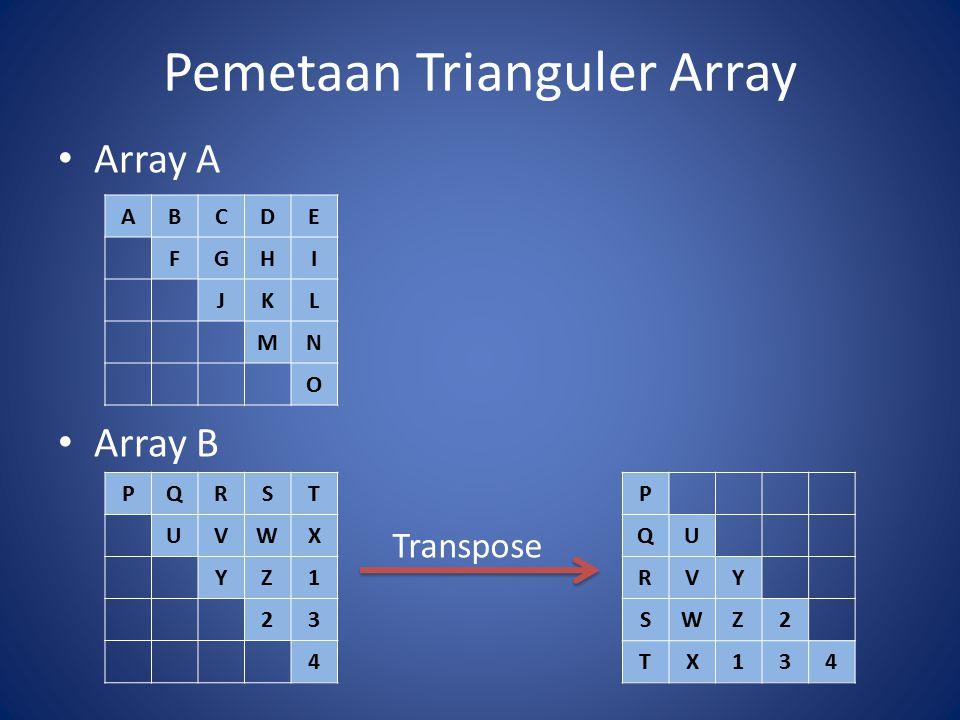 Pemetaan Trianguler Array Array A Array B ABCDE FGHI JKL MN O PQRST UVWX YZ1 23 4 P QU RVY SWZ2 TX134 Transpose