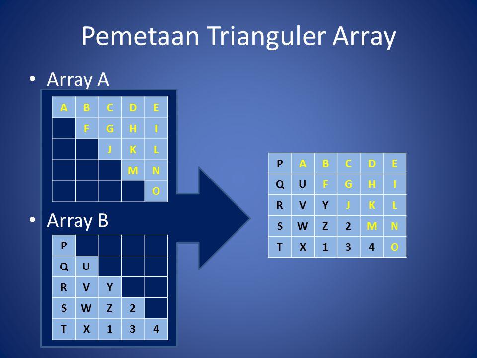 Pemetaan Trianguler Array Array A Array B ABCDE FGHI JKL MN O P QU RVY SWZ2 TX134 PABCDE QUFGHI RVYJKL SWZ2MN TX134O
