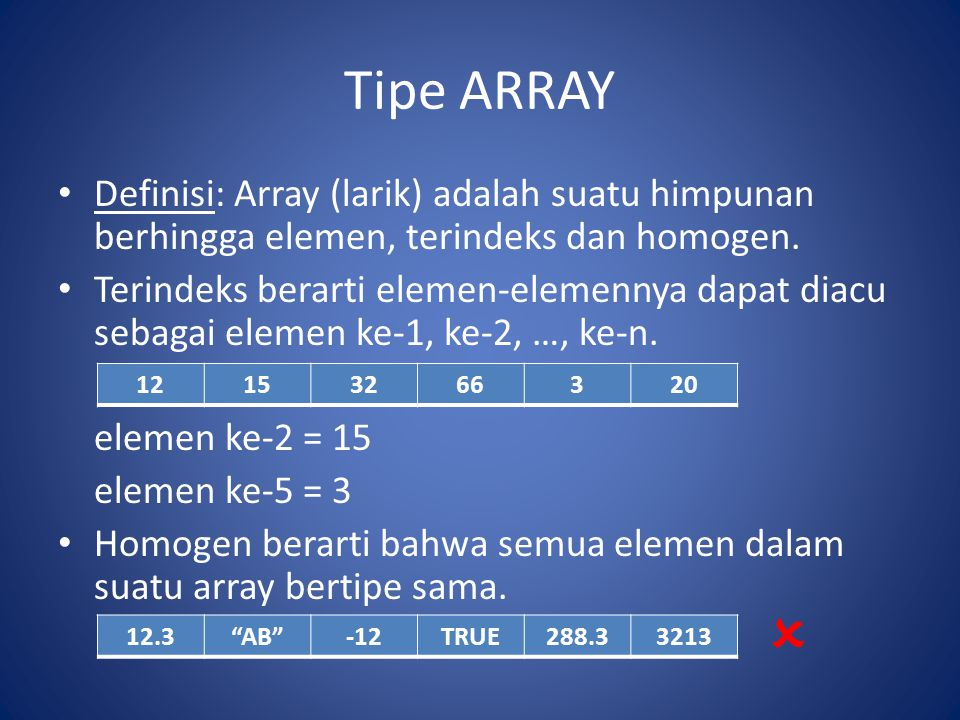 Tipe ARRAY Definisi: Array (larik) adalah suatu himpunan berhingga elemen, terindeks dan homogen. Terindeks berarti elemen-elemennya dapat diacu sebag