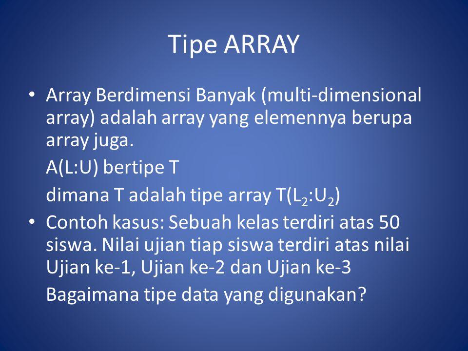 Tipe ARRAY Array Berdimensi Banyak (multi-dimensional array) adalah array yang elemennya berupa array juga. A(L:U) bertipe T dimana T adalah tipe arra