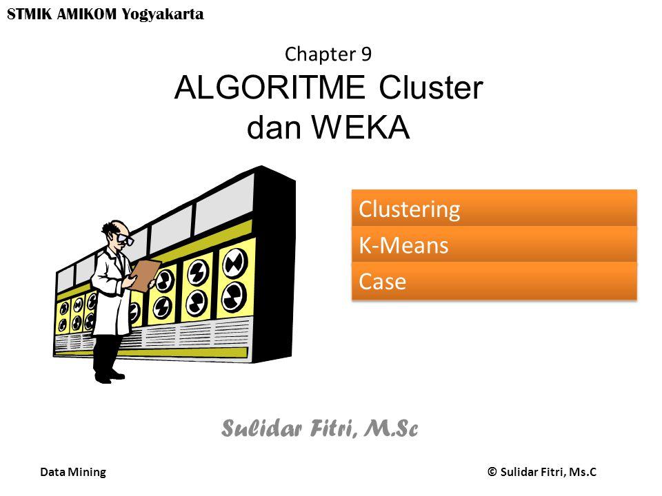 Data Mining © Sulidar Fitri, Ms.C STMIK AMIKOM Yogyakarta Chapter 9 ALGORITME Cluster dan WEKA Sulidar Fitri, M.Sc Clustering K-Means Case