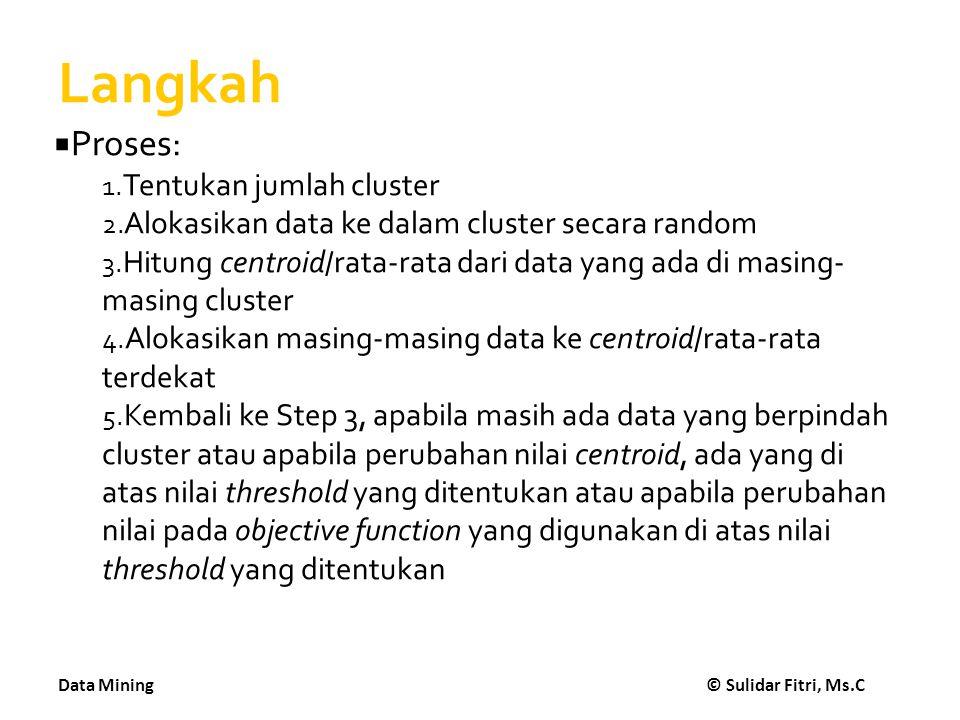 Data Mining © Sulidar Fitri, Ms.C Langkah  Proses: 1. Tentukan jumlah cluster 2. Alokasikan data ke dalam cluster secara random 3. Hitung centroid/ra