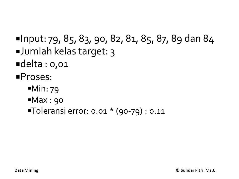 Data Mining © Sulidar Fitri, Ms.C  Input: 79, 85, 83, 90, 82, 81, 85, 87, 89 dan 84  Jumlah kelas target: 3  delta : 0,01  Proses:  Min: 79  Max