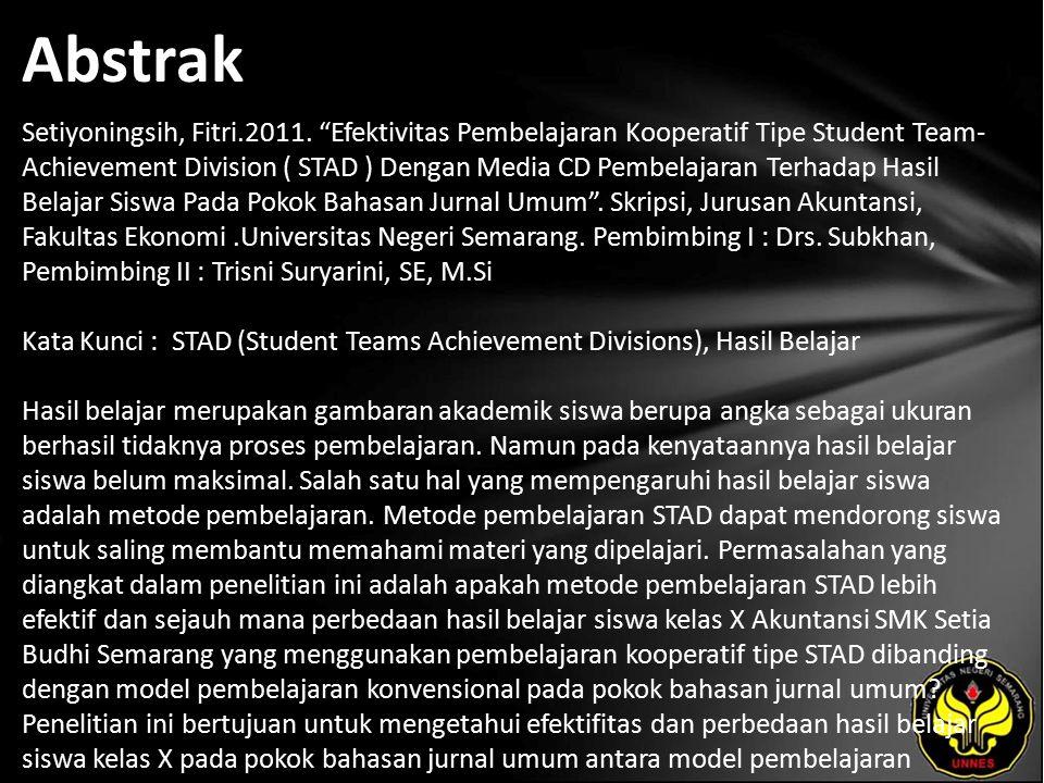 Kata Kunci STAD (Student Teams Achievement Divisions), Hasil Belajar