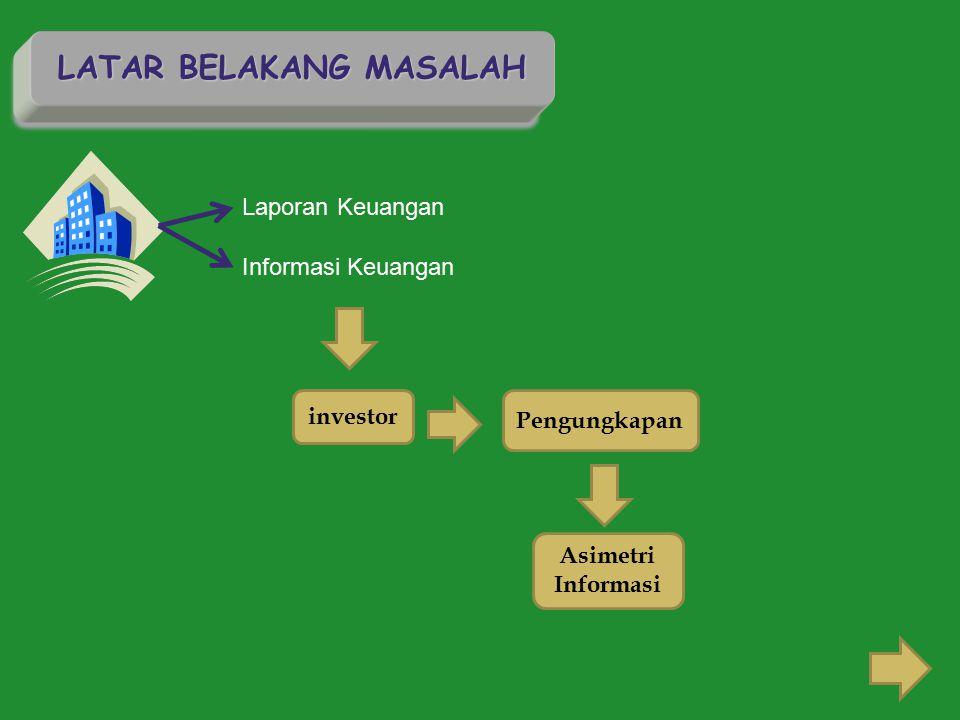 LATAR BELAKANG MASALAH Laporan Keuangan Informasi Keuangan investor Pengungkapan Asimetri Informasi