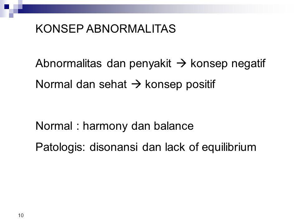 10 KONSEP ABNORMALITAS Abnormalitas dan penyakit  konsep negatif Normal dan sehat  konsep positif Normal : harmony dan balance Patologis: disonansi