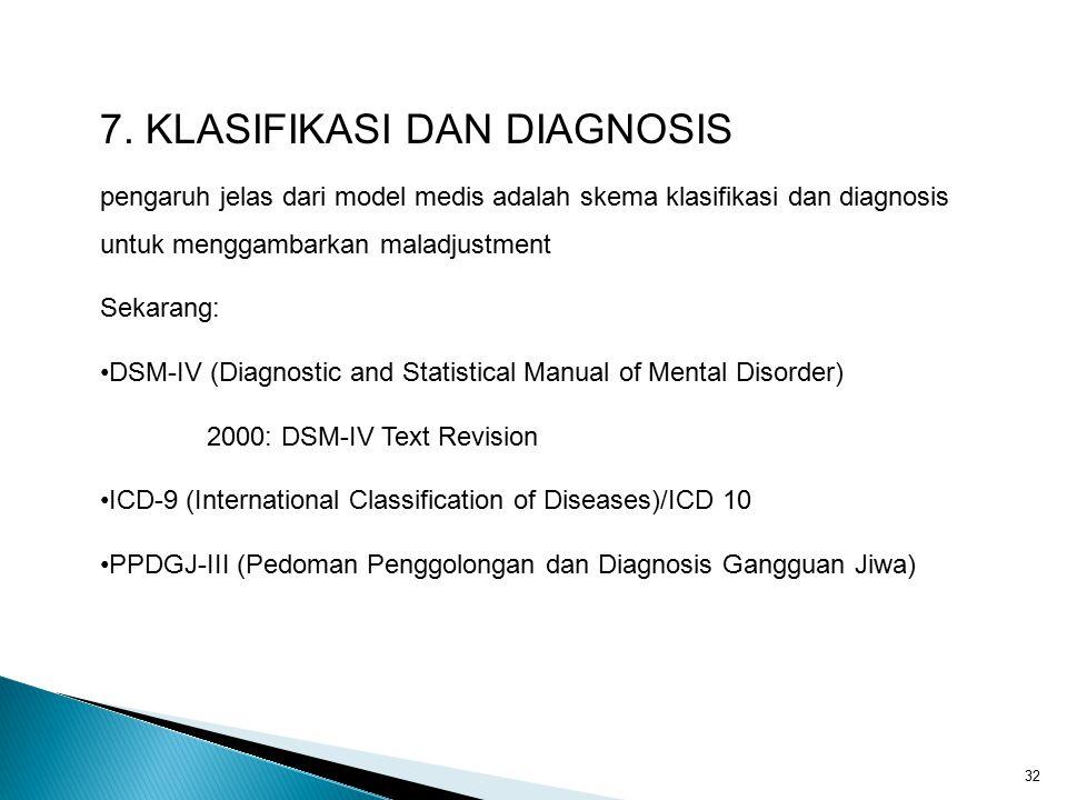 32 7. KLASIFIKASI DAN DIAGNOSIS pengaruh jelas dari model medis adalah skema klasifikasi dan diagnosis untuk menggambarkan maladjustment Sekarang: DSM