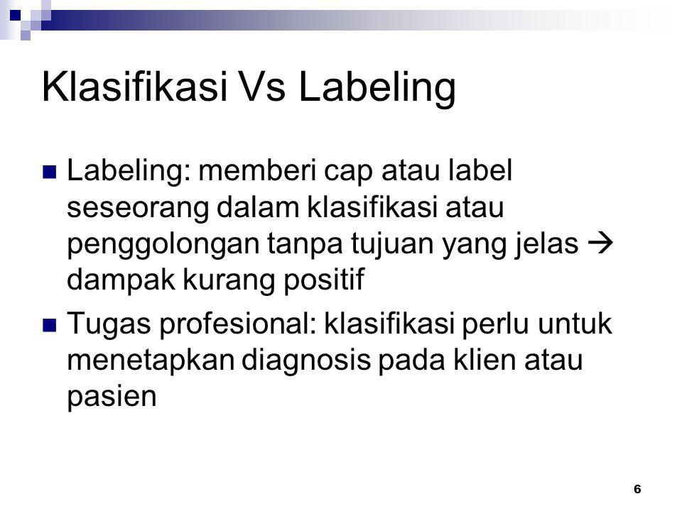 6 Klasifikasi Vs Labeling Labeling: memberi cap atau label seseorang dalam klasifikasi atau penggolongan tanpa tujuan yang jelas  dampak kurang posit