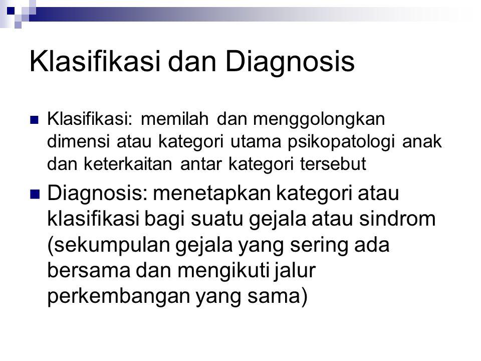 Klasifikasi dan Diagnosis Klasifikasi: memilah dan menggolongkan dimensi atau kategori utama psikopatologi anak dan keterkaitan antar kategori tersebu