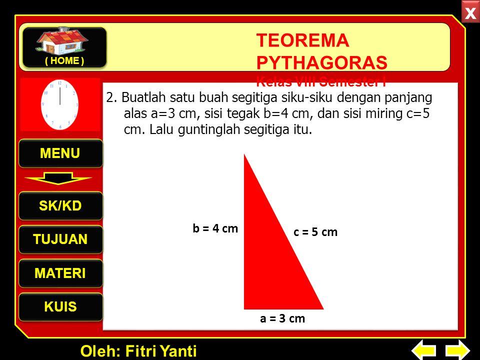 Oleh: Fitri Yanti TEOREMA PYTHAGORAS Kelas VIII Semester I 2. Buatlah satu buah segitiga siku-siku dengan panjang alas a=3 cm, sisi tegak b=4 cm, dan