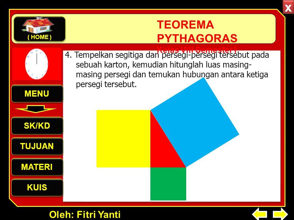 Oleh: Fitri Yanti TEOREMA PYTHAGORAS Kelas VIII Semester I 4. Tempelkan segitiga dan persegi-persegi tersebut pada sebuah karton, kemudian hitunglah l