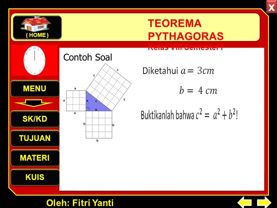 Oleh: Fitri Yanti TEOREMA PYTHAGORAS Kelas VIII Semester I Contoh Soal MENU SK/KD TUJUAN MATERI KUIS ( HOME ) x x