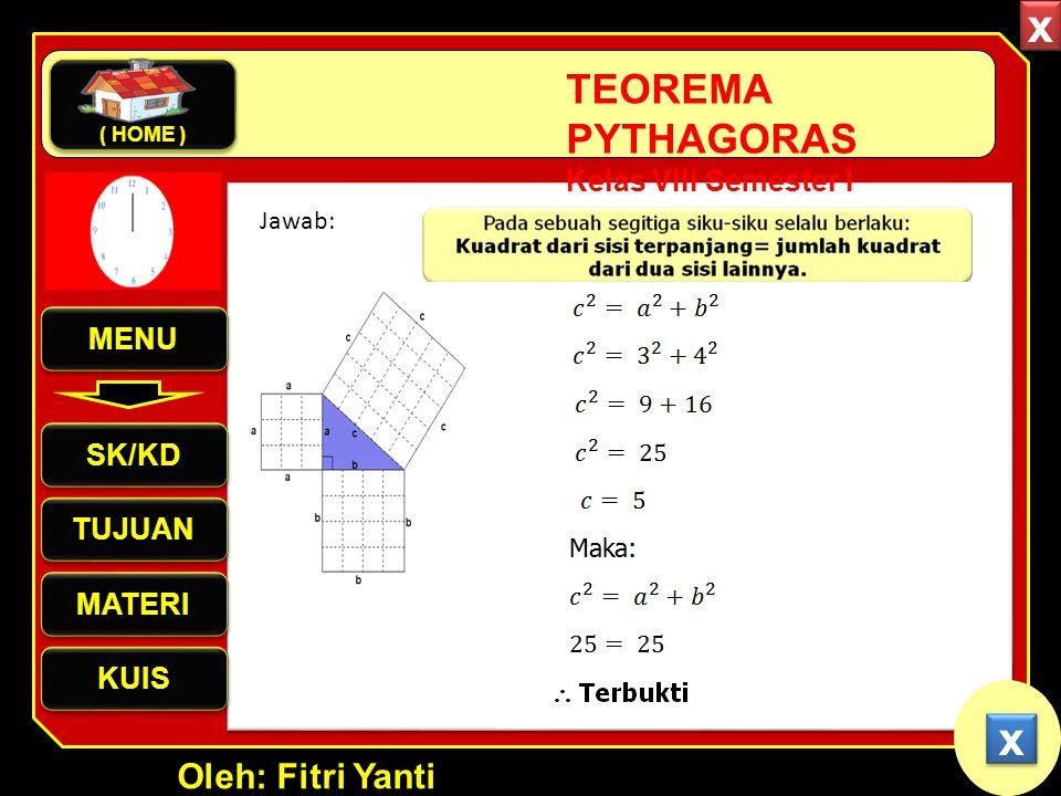 Oleh: Fitri Yanti TEOREMA PYTHAGORAS Kelas VIII Semester I Jawab: x x MENU SK/KD TUJUAN MATERI KUIS ( HOME ) x x