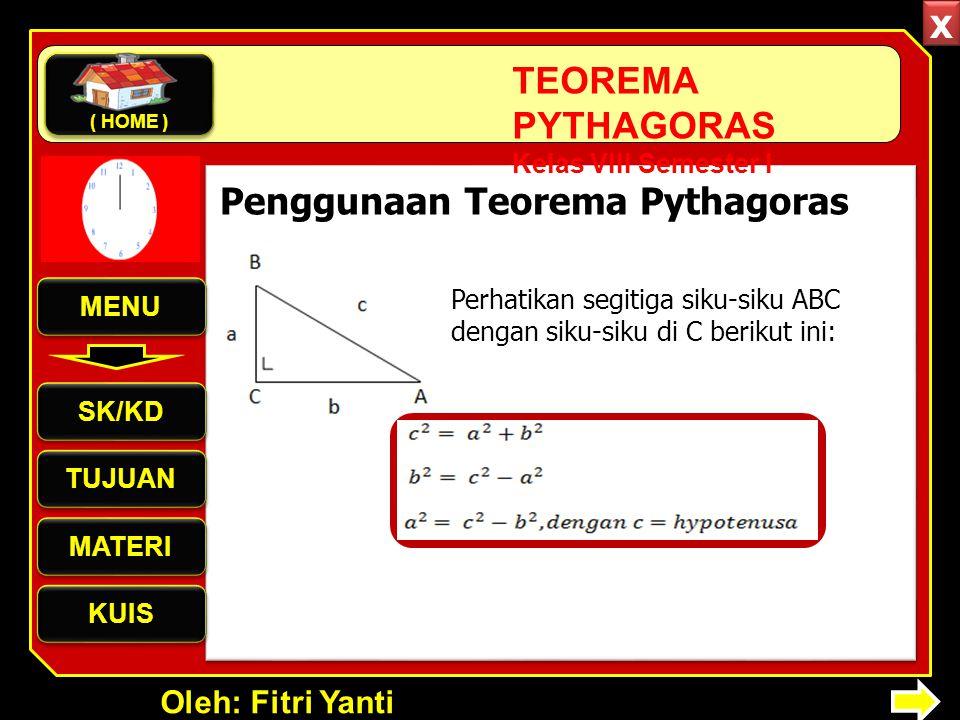 Oleh: Fitri Yanti TEOREMA PYTHAGORAS Kelas VIII Semester I Perhatikan segitiga siku-siku ABC dengan siku-siku di C berikut ini: Penggunaan Teorema Pythagoras MENU SK/KD TUJUAN MATERI KUIS ( HOME ) x x