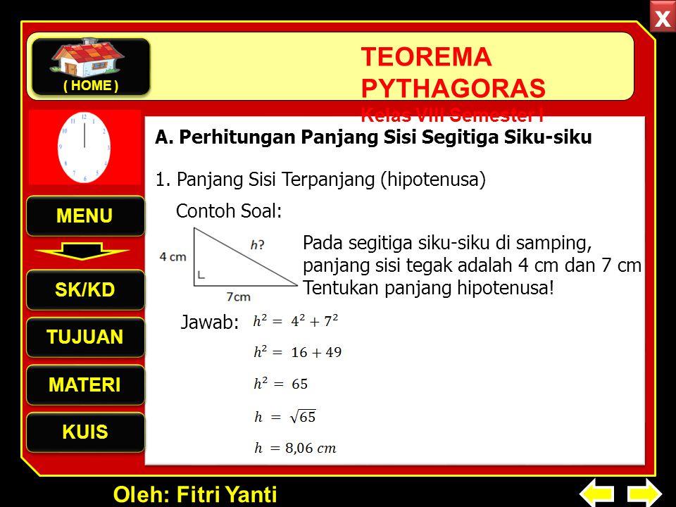 Oleh: Fitri Yanti TEOREMA PYTHAGORAS Kelas VIII Semester I 1. Panjang Sisi Terpanjang (hipotenusa) A. Perhitungan Panjang Sisi Segitiga Siku-siku Pada