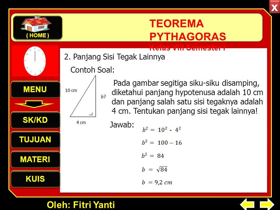 Oleh: Fitri Yanti TEOREMA PYTHAGORAS Kelas VIII Semester I Pada gambar segitiga siku-siku disamping, diketahui panjang hypotenusa adalah 10 cm dan panjang salah satu sisi tegaknya adalah 4 cm.