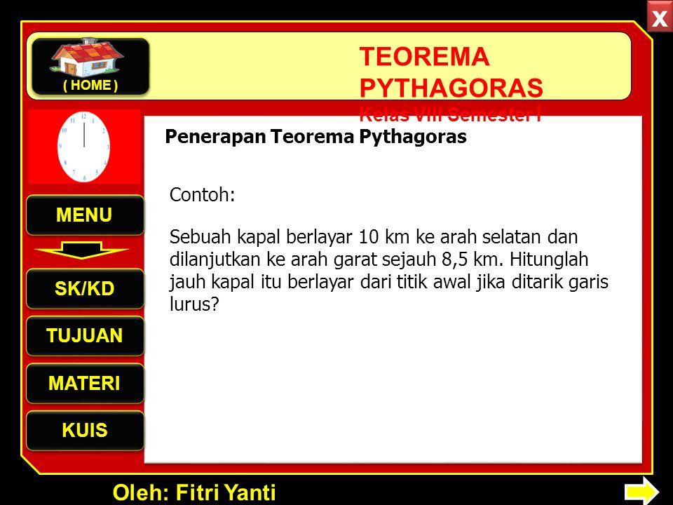 Oleh: Fitri Yanti TEOREMA PYTHAGORAS Kelas VIII Semester I Penerapan Teorema Pythagoras Sebuah kapal berlayar 10 km ke arah selatan dan dilanjutkan ke arah garat sejauh 8,5 km.