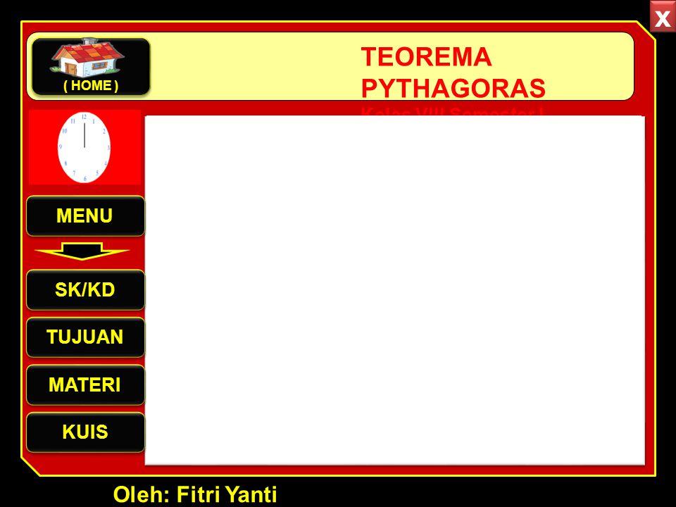 Oleh: Fitri Yanti TEOREMA PYTHAGORAS Kelas VIII Semester I MENU SK/KD TUJUAN MATERI KUIS ( HOME ) x x