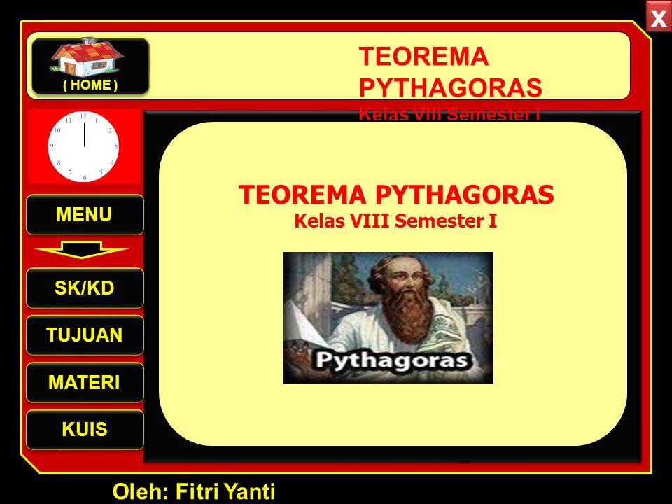 TEOREMA PYTHAGORAS Kelas VIII Semester I MENU SK/KD TUJUAN MATERI KUIS ( HOME ) Oleh: Fitri Yanti TEOREMA PYTHAGORAS Kelas VIII Semester I x x