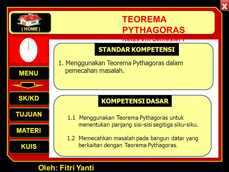 Oleh: Fitri Yanti TEOREMA PYTHAGORAS Kelas VIII Semester I Video Pembuktian Teorema Pythagoras Demo Air MENU SK/KD TUJUAN MATERI KUIS ( HOME ) x x