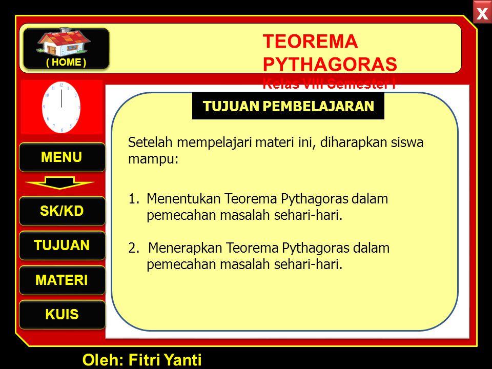 Oleh: Fitri Yanti TEOREMA PYTHAGORAS Kelas VIII Semester I Menentukan Teorema Pythagoras Menentukan Teorema Pythagoras Penggunaan Teorema Pythagoras Penggunaan Teorema Pythagoras Penerapan Teorema Pythagoras Penerapan Teorema Pythagoras Pengertian Teorema Pythagoras Pengertian Teorema Pythagoras MATERI MENU SK/KD TUJUAN MATERI KUIS ( HOME ) x x