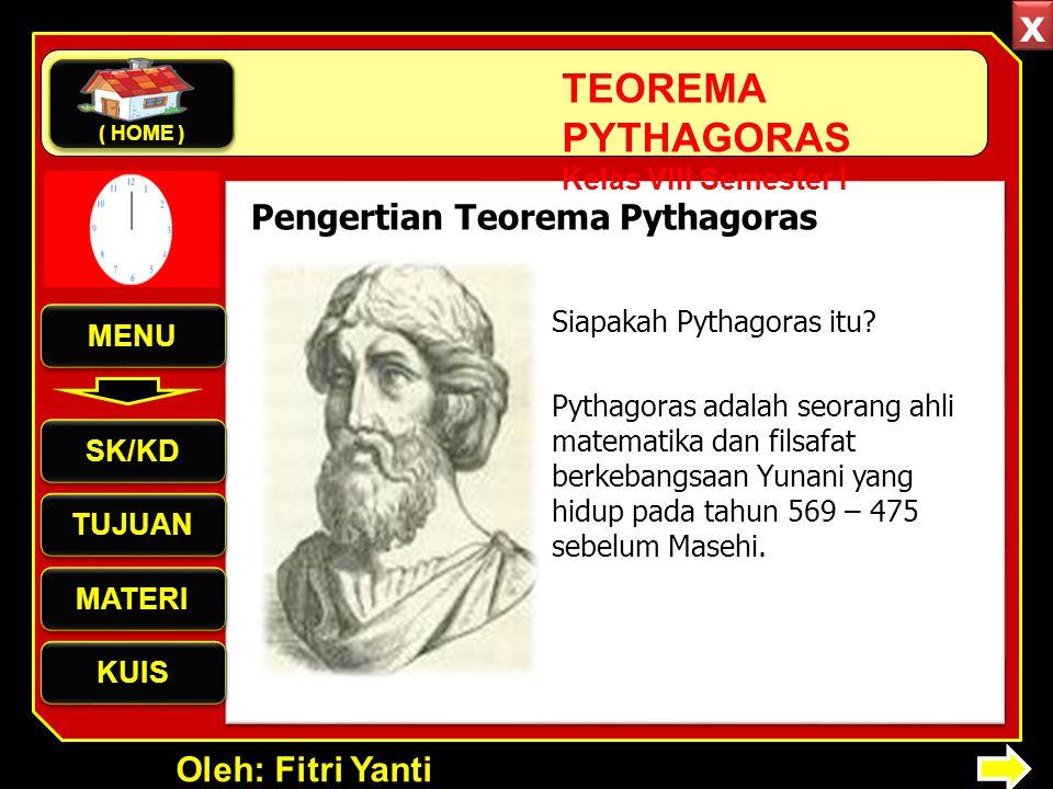 Oleh: Fitri Yanti TEOREMA PYTHAGORAS Kelas VIII Semester I Siapakah Pythagoras itu? Pythagoras adalah seorang ahli matematika dan filsafat berkebangsa