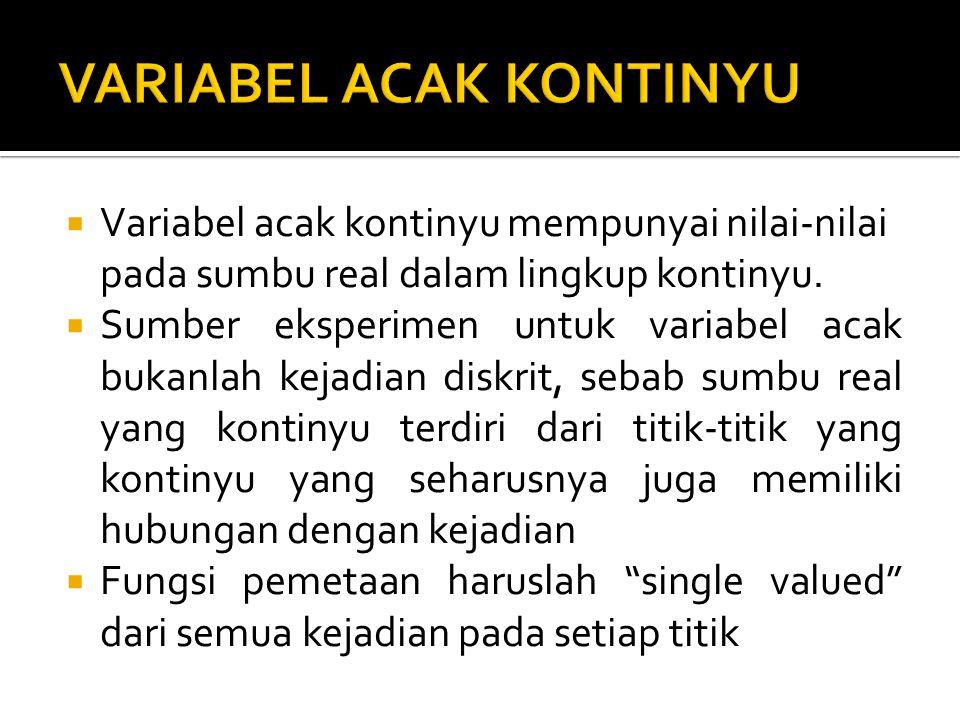  Variabel acak kontinyu mempunyai nilai-nilai pada sumbu real dalam lingkup kontinyu.  Sumber eksperimen untuk variabel acak bukanlah kejadian diskr