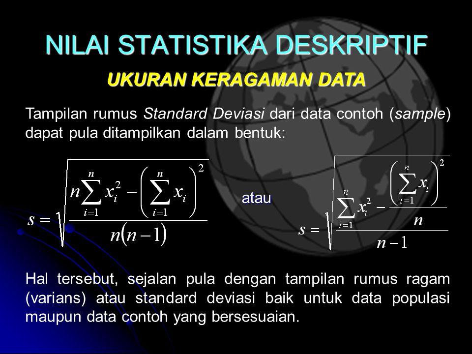 NILAI STATISTIKA DESKRIPTIF UKURAN KERAGAMAN DATA Hal tersebut, sejalan pula dengan tampilan rumus ragam (varians) atau standard deviasi baik untuk data populasi maupun data contoh yang bersesuaian.