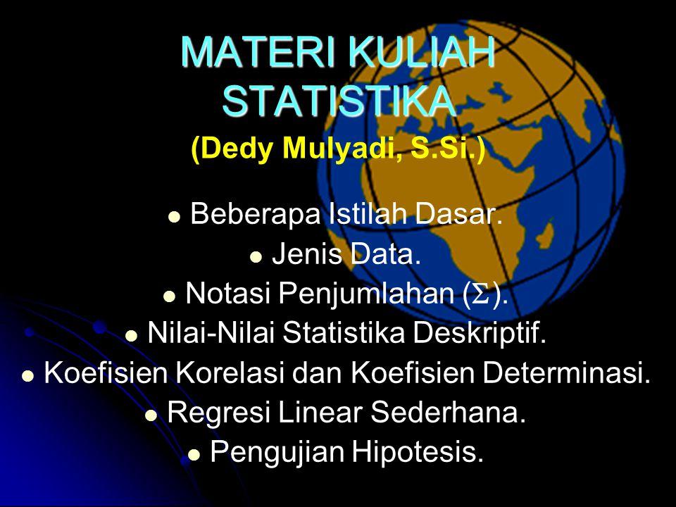 MATERI KULIAH STATISTIKA Beberapa Istilah Dasar.Jenis Data.