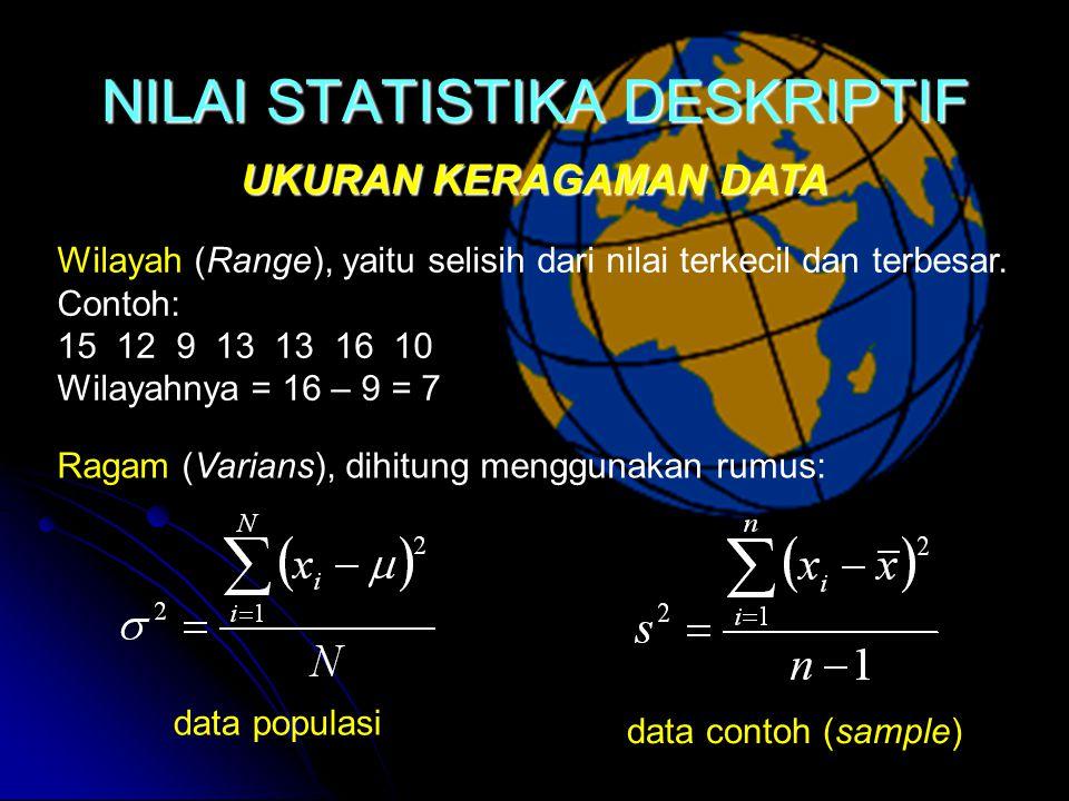 NILAI STATISTIKA DESKRIPTIF UKURAN KERAGAMAN DATA Wilayah (Range), yaitu selisih dari nilai terkecil dan terbesar.