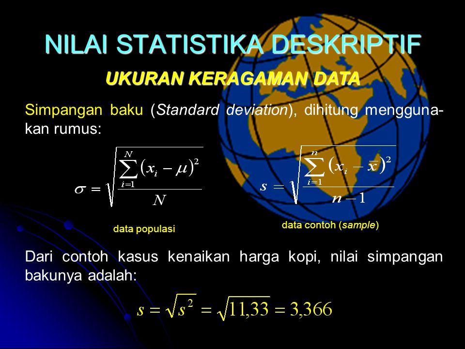 NILAI STATISTIKA DESKRIPTIF UKURAN KERAGAMAN DATA data populasi data contoh (sample) Simpangan baku (Standard deviation), dihitung mengguna- kan rumus: Dari contoh kasus kenaikan harga kopi, nilai simpangan bakunya adalah: