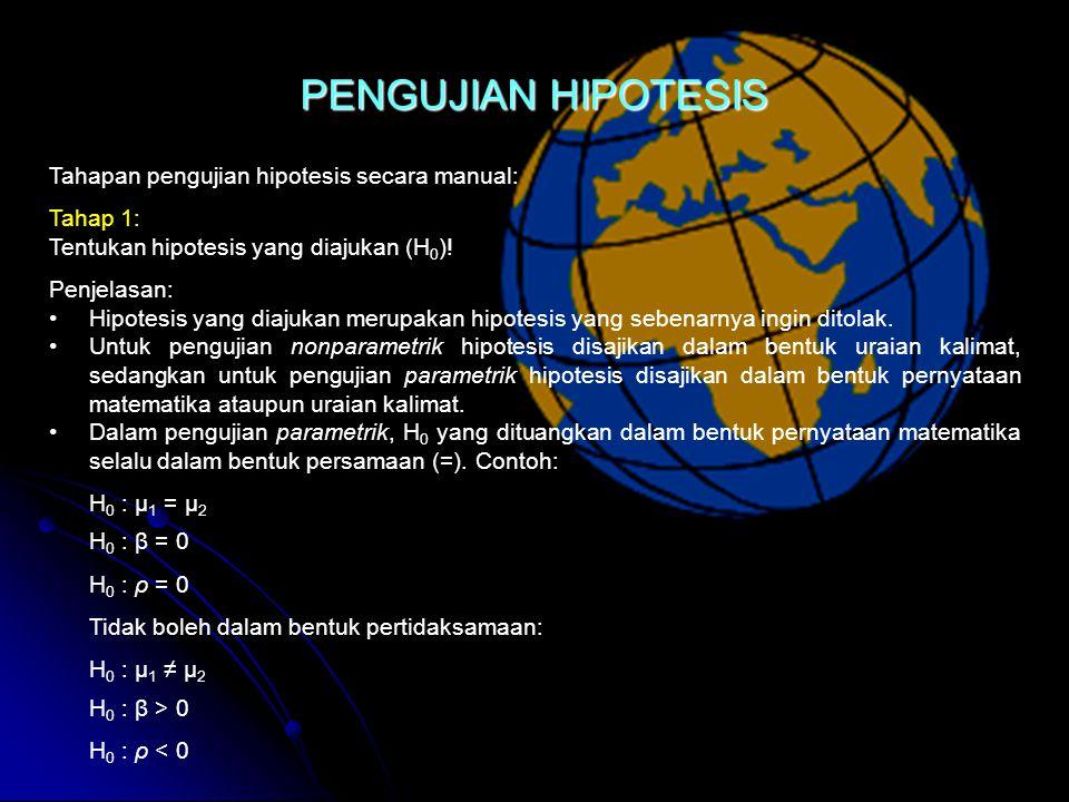 Tahapan pengujian hipotesis secara manual: Tahap 1: Tentukan hipotesis yang diajukan (H 0 ).