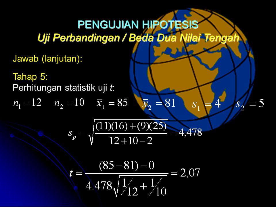 Uji Perbandingan / Beda Dua Nilai Tengah Jawab (lanjutan): Tahap 5: Perhitungan statistik uji t:PENGUJIAN HIPOTESIS