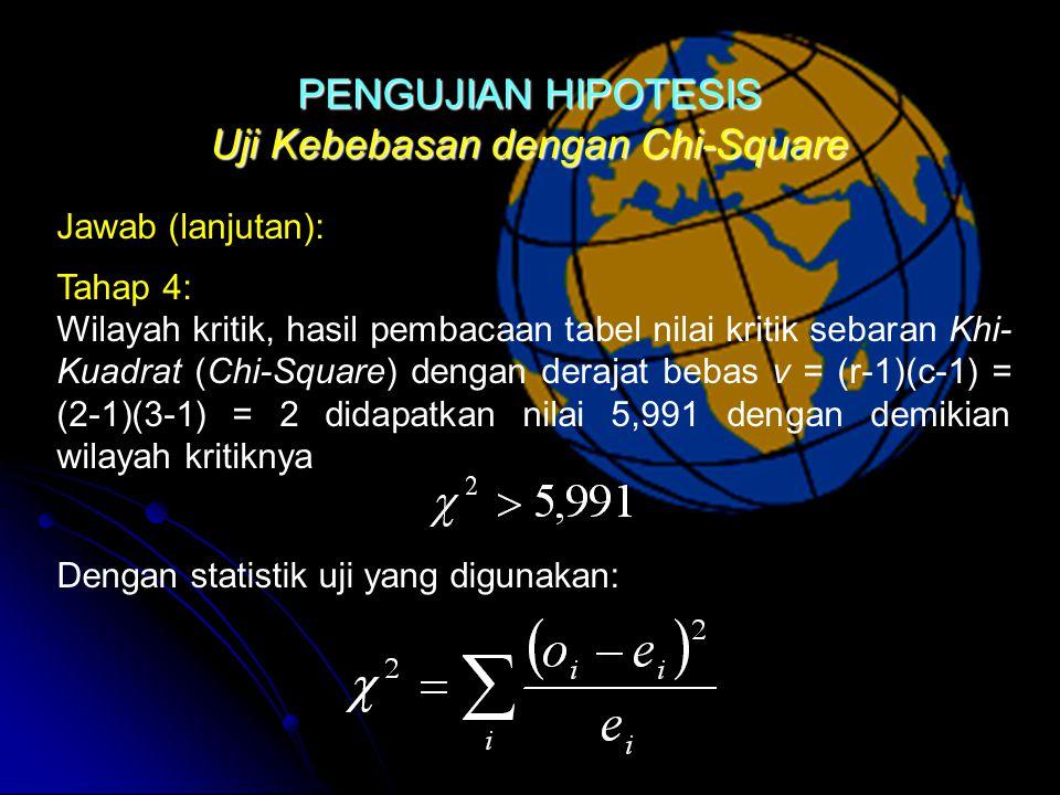 Uji Kebebasan dengan Chi-Square Dengan statistik uji yang digunakan: Jawab (lanjutan): Tahap 4: Wilayah kritik, hasil pembacaan tabel nilai kritik sebaran Khi- Kuadrat (Chi-Square) dengan derajat bebas v = (r-1)(c-1) = (2-1)(3-1) = 2 didapatkan nilai 5,991 dengan demikian wilayah kritiknyaPENGUJIAN HIPOTESIS