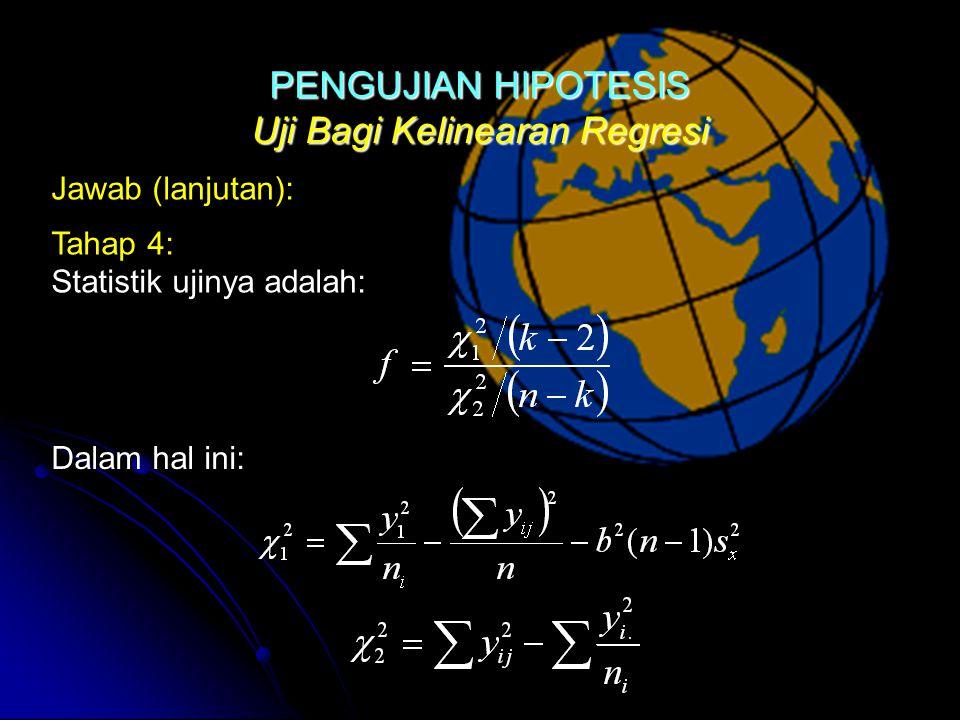 Uji Bagi Kelinearan Regresi Jawab (lanjutan): Tahap 4: Statistik ujinya adalah: Dalam hal ini:PENGUJIAN HIPOTESIS
