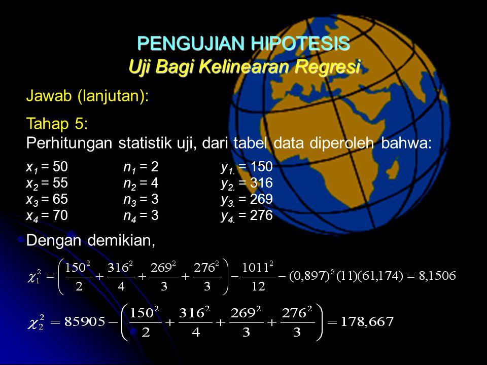 Uji Bagi Kelinearan Regresi Jawab (lanjutan): Tahap 5: Perhitungan statistik uji, dari tabel data diperoleh bahwa: x 1 = 50n 1 = 2y 1.