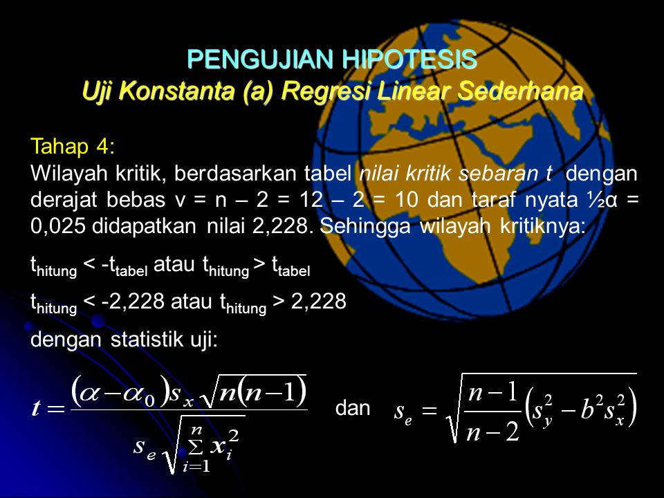 Uji Konstanta (a) Regresi Linear Sederhana Tahap 4: Wilayah kritik, berdasarkan tabel nilai kritik sebaran t dengan derajat bebas v = n – 2 = 12 – 2 = 10 dan taraf nyata ½α = 0,025 didapatkan nilai 2,228.