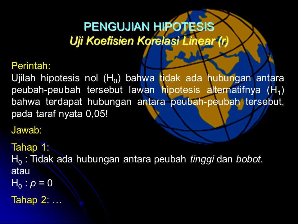 Uji Koefisien Korelasi Linear (r) Perintah: Ujilah hipotesis nol (H 0 ) bahwa tidak ada hubungan antara peubah-peubah tersebut lawan hipotesis alternatifnya (H 1 ) bahwa terdapat hubungan antara peubah-peubah tersebut, pada taraf nyata 0,05.