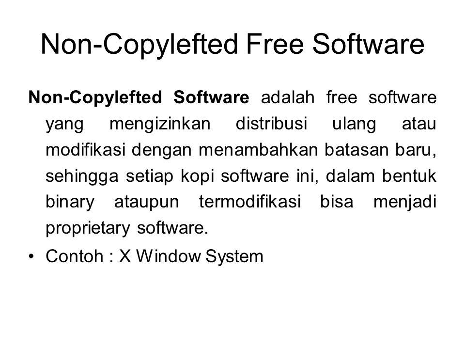 Non-Copylefted Free Software Non-Copylefted Software adalah free software yang mengizinkan distribusi ulang atau modifikasi dengan menambahkan batasan