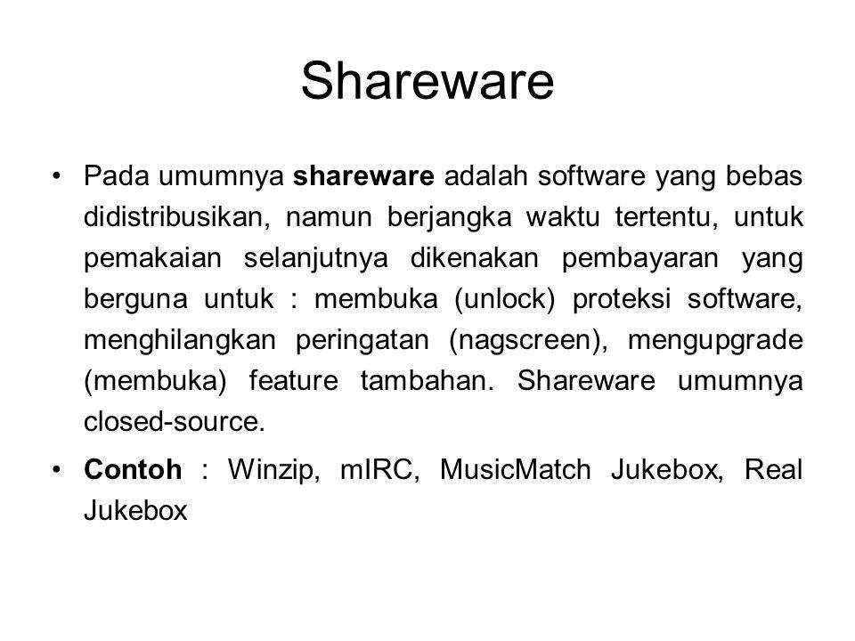 Shareware Pada umumnya shareware adalah software yang bebas didistribusikan, namun berjangka waktu tertentu, untuk pemakaian selanjutnya dikenakan pem