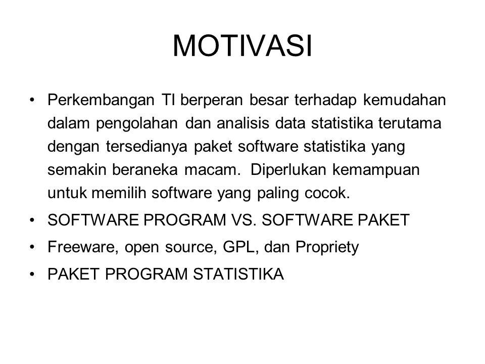 MOTIVASI Perkembangan TI berperan besar terhadap kemudahan dalam pengolahan dan analisis data statistika terutama dengan tersedianya paket software st
