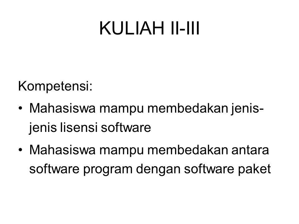 KULIAH II-III Kompetensi: Mahasiswa mampu membedakan jenis- jenis lisensi software Mahasiswa mampu membedakan antara software program dengan software