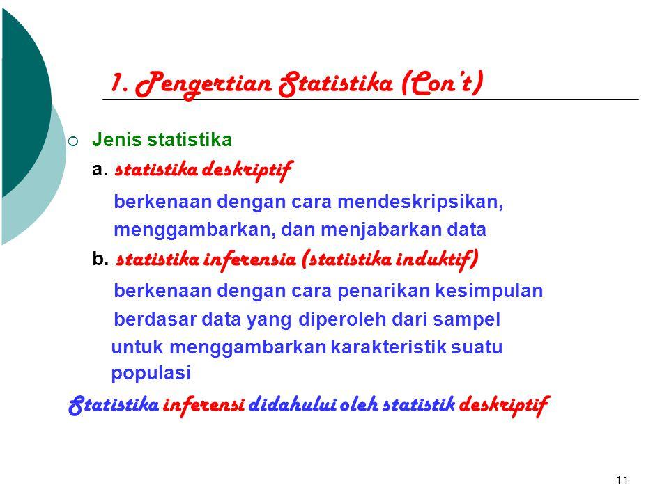 11 1. Pengertian Statistika (Con't)  Jenis statistika a. statistika deskriptif berkenaan dengan cara mendeskripsikan, menggambarkan, dan menjabarkan