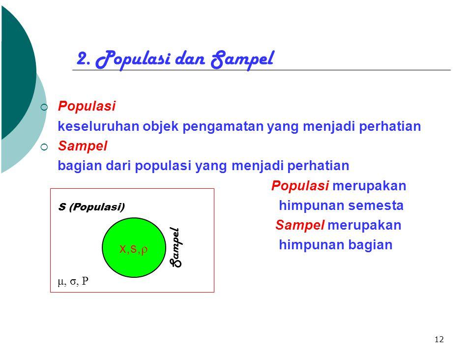 12 2. Populasi dan Sampel  Populasi keseluruhan objek pengamatan yang menjadi perhatian  Sampel bagian dari populasi yang menjadi perhatian Populasi