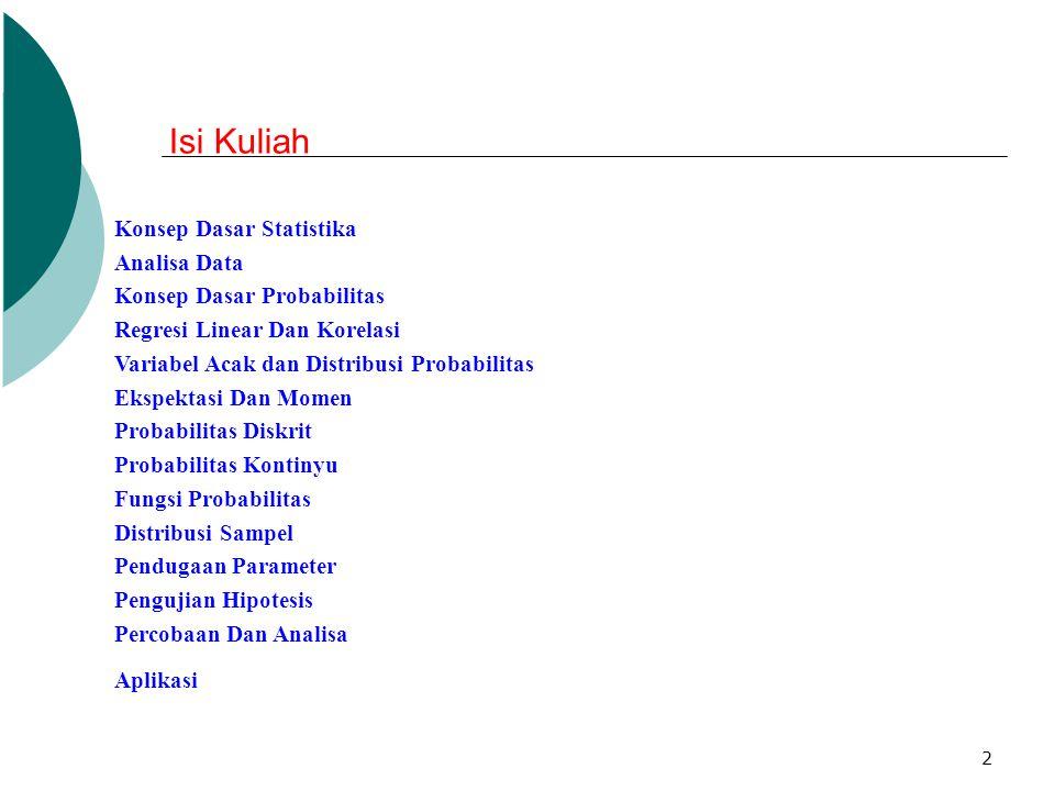 2 Konsep Dasar Statistika Analisa Data Konsep Dasar Probabilitas Regresi Linear Dan Korelasi Variabel Acak dan Distribusi Probabilitas Ekspektasi Dan